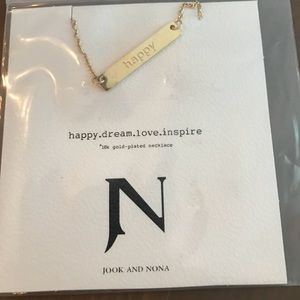 "Jook & Nona 18k gold plated ""happy"" necklace"